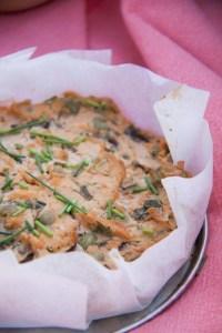 quiche met tofu en erwtjes