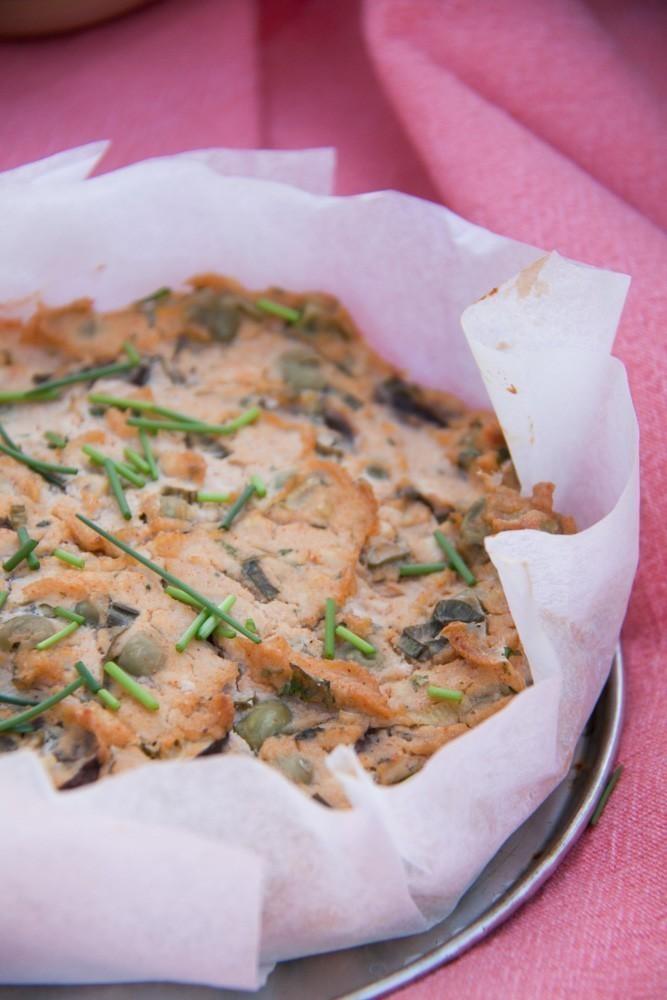 quiche végétalien au tofu et petits pois