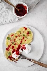 recette dessert végétalien carpaccio d'ananas