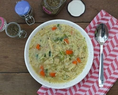 recept kippensoep met vegetarische kipstuckjes