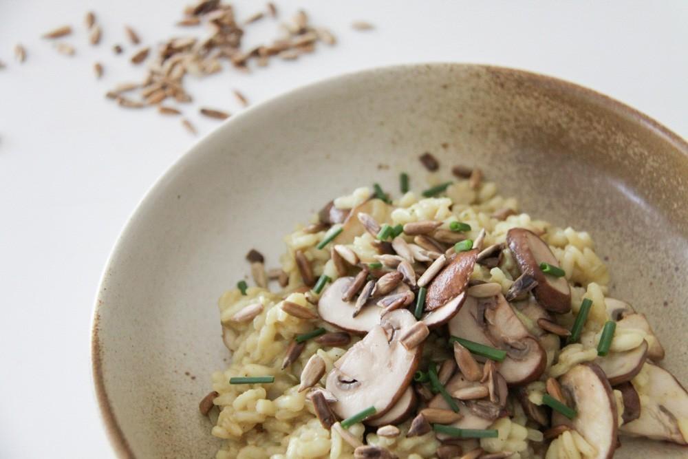 veganistische risotto met champignons