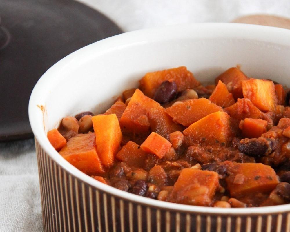 vegan recept chili sin carne met pompoen