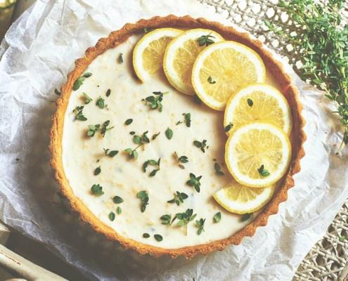 recette tarte végétalienne au citron et au thym