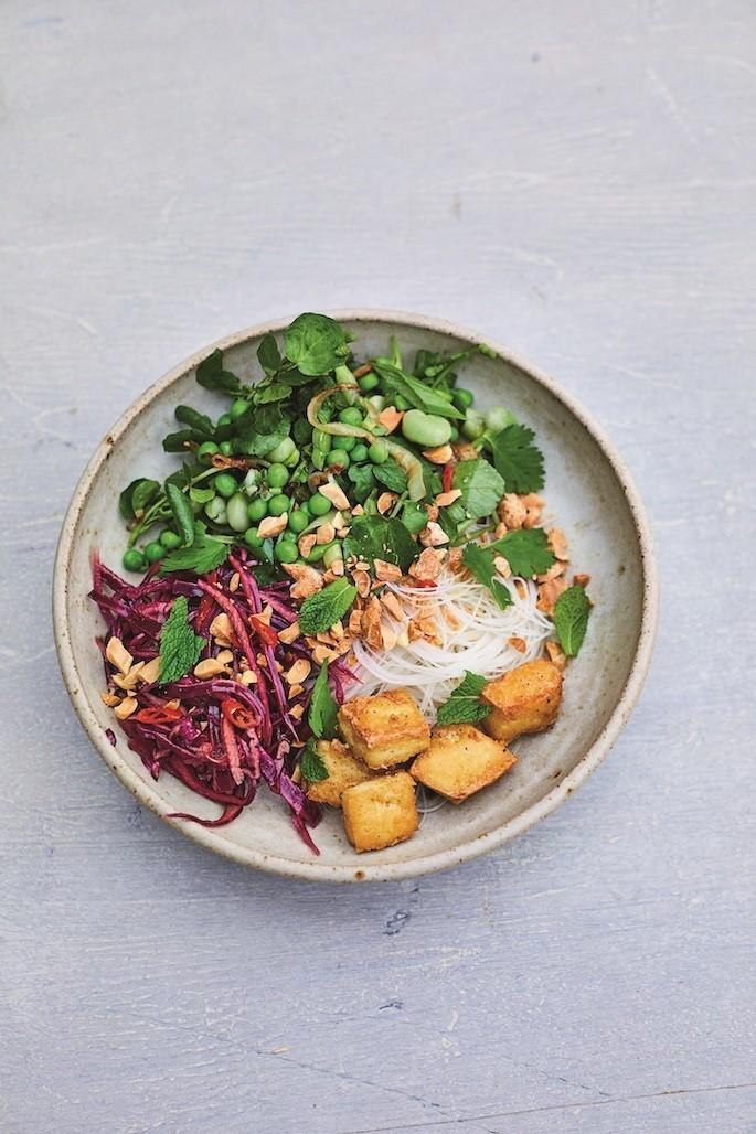 vegan recept vietnamese bun cha noedelsalade met tofu