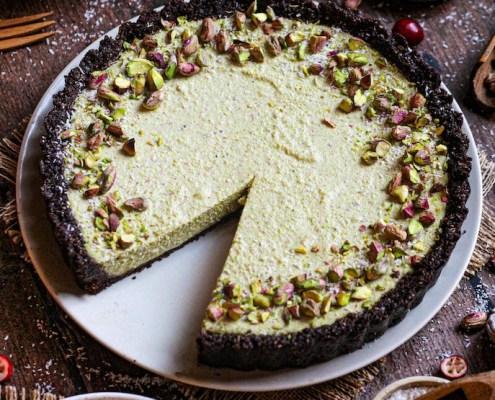 recette vegan cheesecake pistache biscuit chocolat