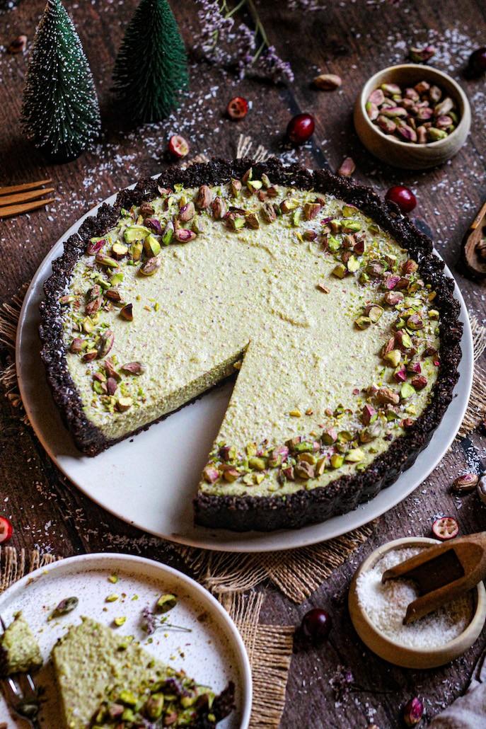 recept vegan pistache cheesecake met chocoladebodem