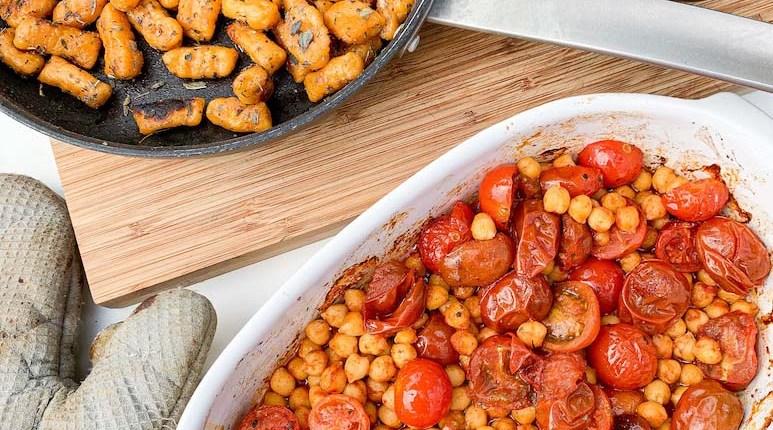 gnocchi véganes Gnocchi de patate douce aux pois chiches