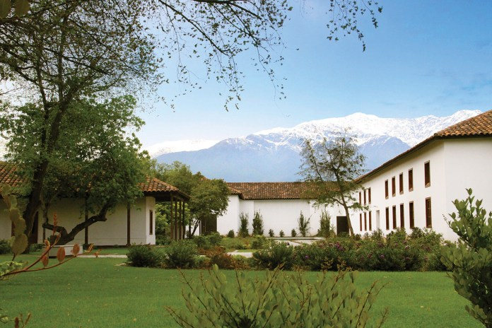 Santa Carolina's Santiago winery with a backdrop of the Andes