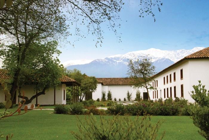 Santa Carolina's Santiago winery with a backdrop of the Andes
