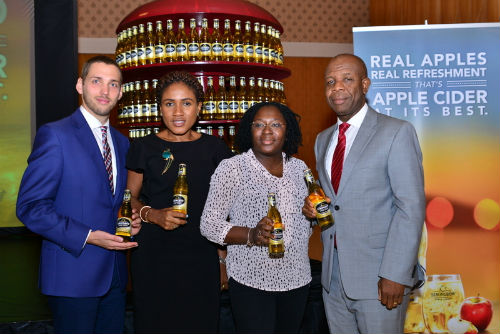 L-R: Trade Marketing Executive Manager, Mateusz Sikora, Senior Brand Manager, Strongbow, Ngozi Nkwoji, Brand Manager, Strongbow, Kehinde Kadiri and Senior Strategy Manager, NB PLC, Tony Agenmonmen at the StrongBow Trade Launch in Lagos