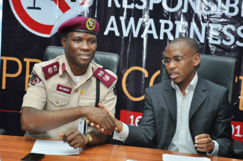 "L-R Lagos Sector Commander, Federal Road Safety Commission, Mr. Hyginius Omeje, and MD/CEO, Guinness Nigeria, Peter Ndegwa  at the flagoff of the Guinness sponsored ""Ember Months Responsible Drinking Awareness Campaign"" in Lagos"