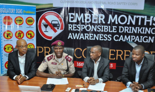 "L-R Head of Policy and Public Affairs, Michael Onuoha, Lagos Sector Commander, Federal Road Safety Commission, Mr. Hyginius Omeje, MD/CEO, Guinness Nigeria, Peter Ndegwa and Corporate Relations Director, Sesan Sobowale at the flagoff of the Guinness sponsored ""Ember Months Responsible Drinking Awareness Campaign"" in Lagos"