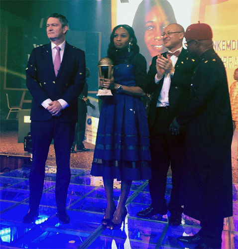 Mr. Nicolaas Vervelde, Managing Director, Nigerian Breweries, Nkemdili Obi, Winner of Maltina, Teacher of the Year award, Mr. Pat Utomi, one of the judges