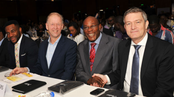L-R: TV Personality Ebuka Obi Uchendu, Dr. Henk F. J. Hendriks, Project Leader, Top Institute for Food & Nutrition, Netherlands, Prof. Emevwo Biakolo, Dean, School of Media and Communication, SMC, Pan Atlantic University, Lagos and Mr. Nicolaas Vervelde, MD/CEO, Nigerian Breweries Plc, at the 2015 Nigerian Beer and Health Symposium at Intercontinental Hotels, Lagos