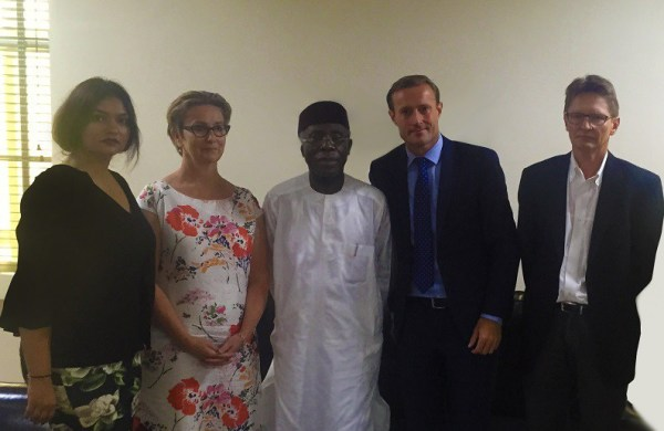 L-R: Ivana Tsvetkova, CSR Project Manager Arla Foods; Irene Quist Mortensen, Head of Corporate Responsibility, Arla Foods International; Chief Audu Ogbeh, (OFR), Minister for Agriculture and Rural Development; Kasper Thormod Nielsen, Director, Trade Policy and Flemming Larsen, Senior Agricultural Specialist, Arla International during a visit to the Minister