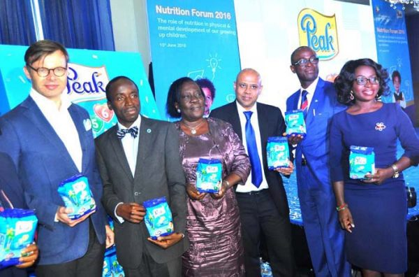 L-R Corporate Director Global Categories/CMD FrieslandCampina Mr Aj van Triest, Dr Adegboyega Ogunwale, Neuropsychiatric Hospital Aro, Director Child Development Lagos State Ministry of Women affairs Mrs Alaba Fadairo, Marketing Director Friesland Campina WAMCO. Mr Tarang Gupta ,Dr John Okeniyi ,and Mrs Tolu Owolabi at the unveiling of Peak 456 in Victoria Island, Lagos
