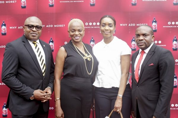 (L-R): Kufre Ekanem, Corporate Affairs Adviser, Nigerian Breweries Plc; Ruth Osime, Editor, ThisDay Style; Mrs. Ngozi Princewill-Utchay, CEO, Artelier Lifestyle Consultants; Chidike Oluaoha, Senior Brand Manager, Amstel Malta; at the official launching of Amstel Malta's new campaign, Why Add More held in Lagos