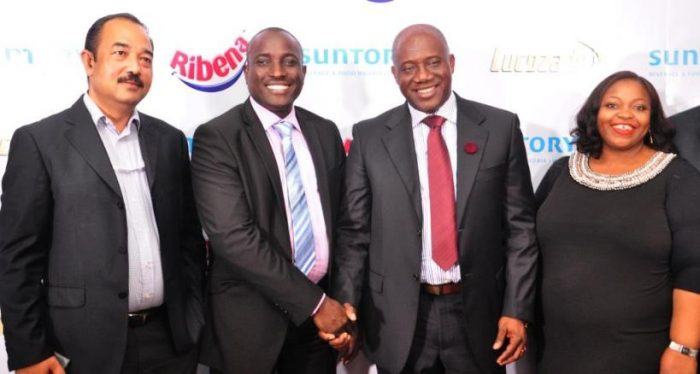 L-R: Rajiv Das, Deputy Managing Director; Seyi Adesomi, Plant Director, Agbara Plant; Chinedum Okereke, Managing Director and Rosemary Akpo, Marketing Director all of Suntory Beverage & Food Nigeria Limited, at a press conference to announce the entrance of Suntory Beverage & Food Nigeria Limited into the Nigerian Market in Lagos