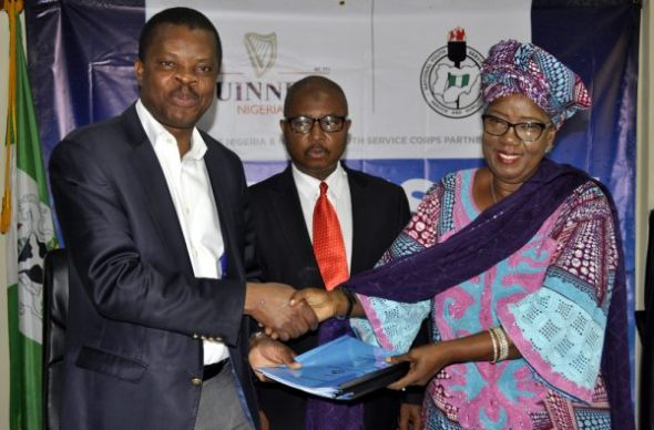 L-R: Director, Corporate Relations, Guinness Nigeria Plc, Sesan Sobowale, Director Legal Services, National Youth Service Corp, Ahmed Tijani Ibrahim and Director, Community Development Services, NYSC,  Rhoda Kaka Kwaki, during the signing of Memorandum of Understanding between Guinness and NYSC on Responsible Drinking Campaign Initiative held in Abuja on 4th November 2016
