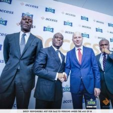 Access Bank CEO, Herbert Wigwe shakes hands with Nigerian Breweries Managing Director, Jordi Borrut Bel at the launch of Access the Stars contest