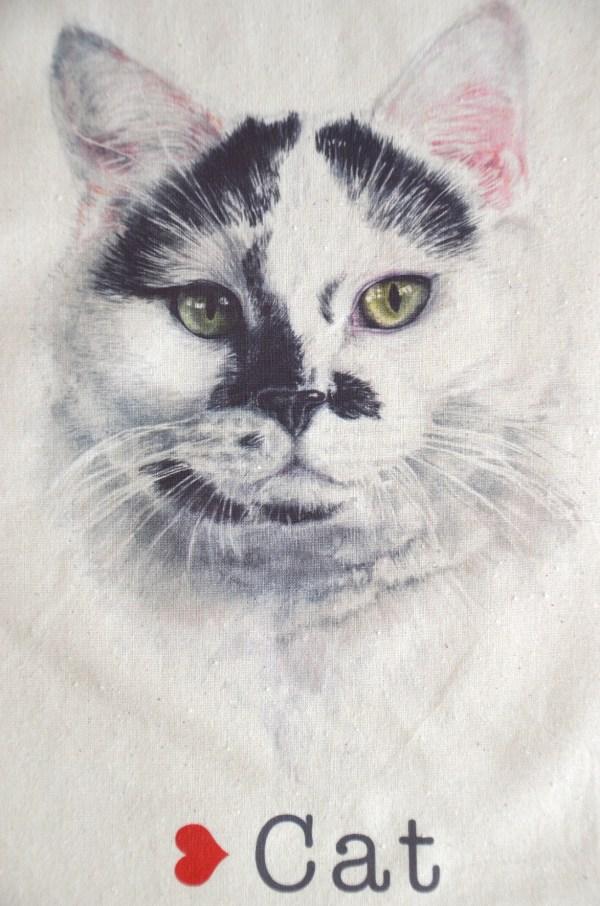 cat face cotton tote bag