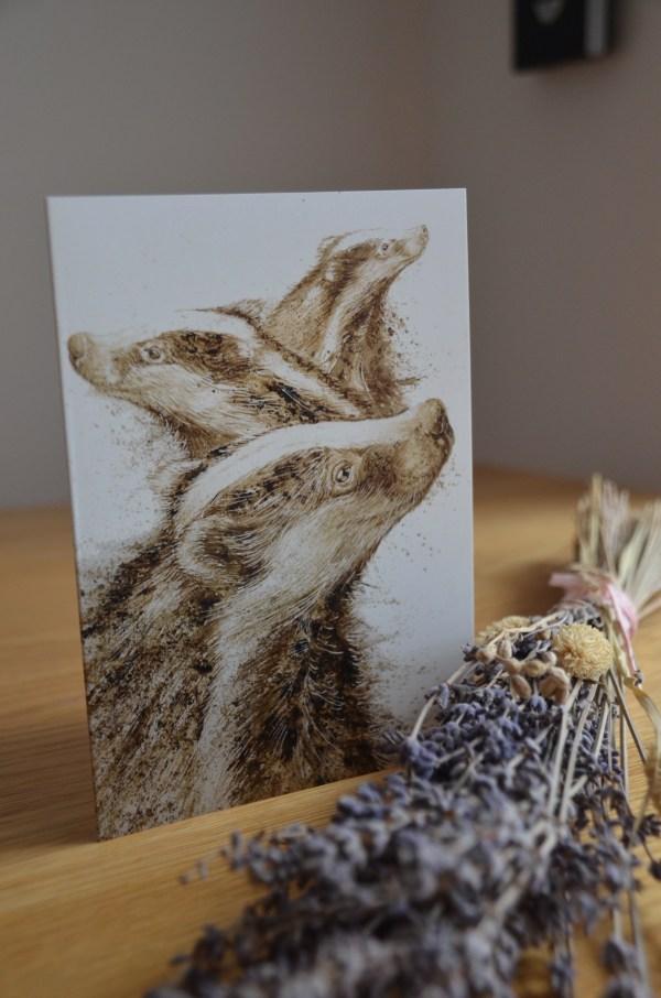 Badgers painting greetings card