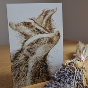 Badgers painting greetings card