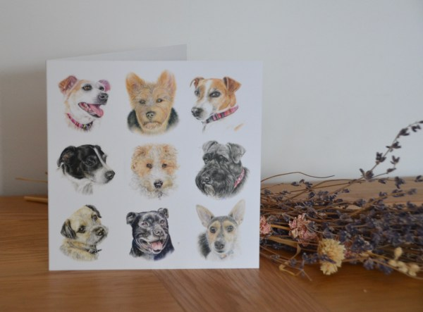 terrier dogs greetings card