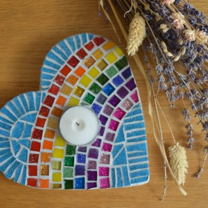 Rain bow heart mosaic tea light holder