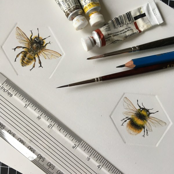 Bumble Bee hand embossed watercolour paintings