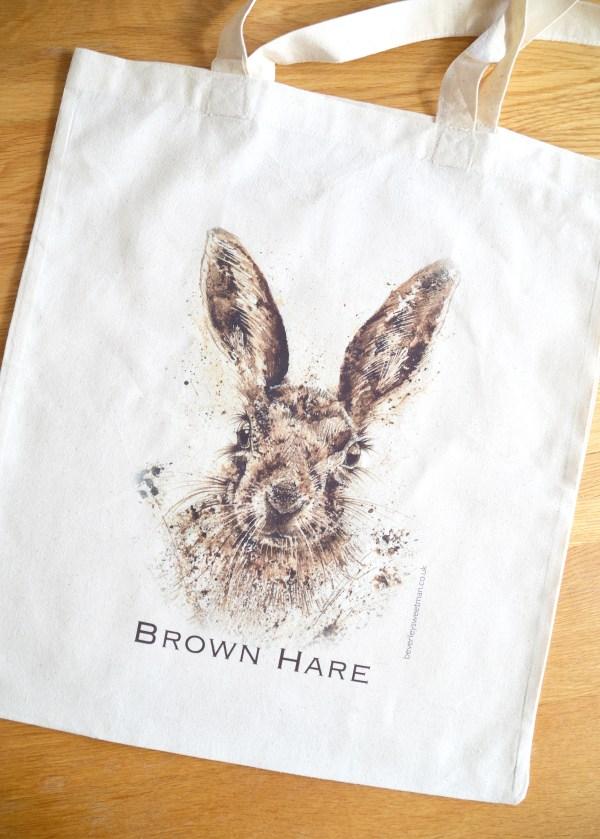Brown Hare cotton tote bag