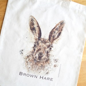 Brown Hare cotton tote bag