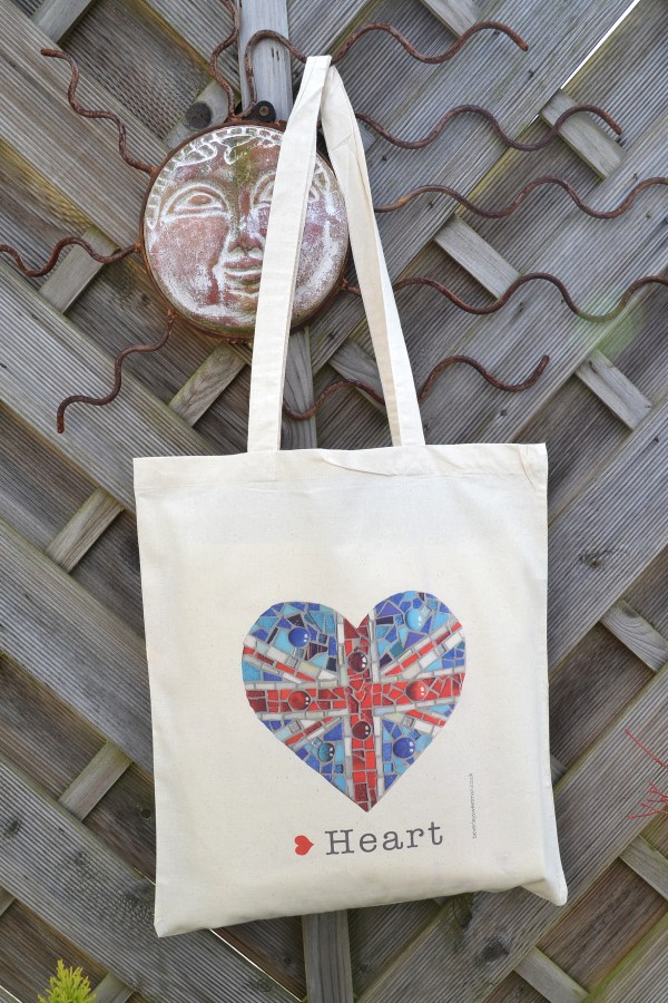 Union jack mosaic cotton tote bag