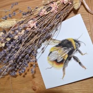 Bumble bee wings greetings card