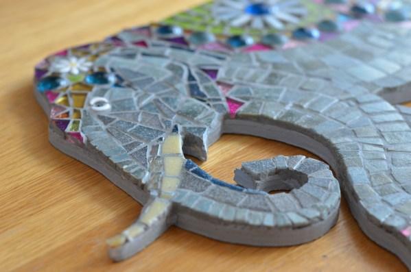 Indian elephant mosaic wall art