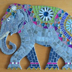 Indian elephant mosaic wall art