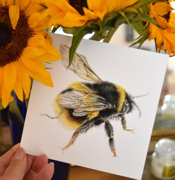 Bumble Bee Greeting card with Sunflowers