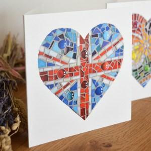 Union Jack Mosaic Heart greeting card