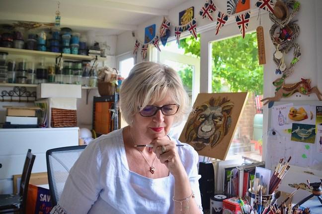 Beverley in her art studio