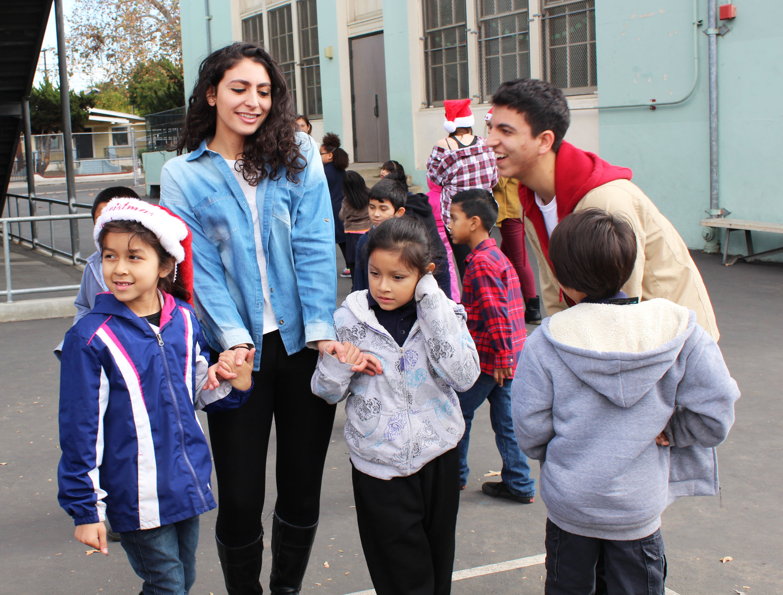 Senior Natasha Kashani spends quality time with Albion students from the class to which she was assigned.