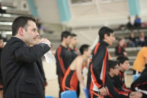 Coach Ryan Faintich reacts to move on the floor when Beverly faced Inglewood.