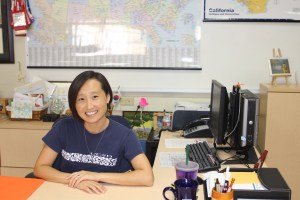 AhYoung Chi shows her College Tuesday spirit by wearing her UCSD t-shirt. Photo by Celine Rezvani