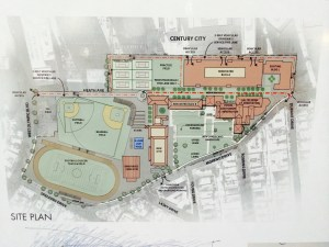 A site plan demonstrating renovations and additon of new facilities to campus.