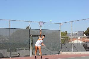 Bocchi sends her serve to her opponent. Photo by: KAREN SHILYAN.