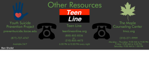 The resources available if one is looking to report any suicidal behavior of peers, or seeking help for personal issues.