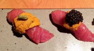 Belly with Uni and Caviar at Sushi Tsujita. Photo by: JULIETTE DEUTSCH