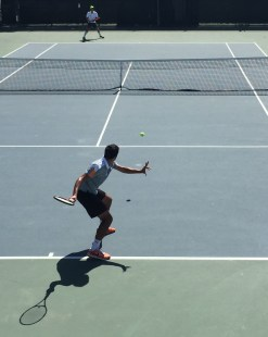 Junior Adriano Saitta sets up for a forehand. Photo by: LUCAS HARWARD