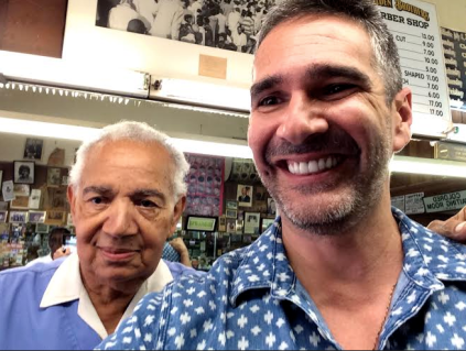 Hinojosa getting his haircut by Martin Luther King Jr.'s barber at Nelson Malden's barbershop in Montgomery, Alabama.