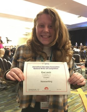 Eva Levin received an Excellent, the second highest award, for News Writing at her first competition.
