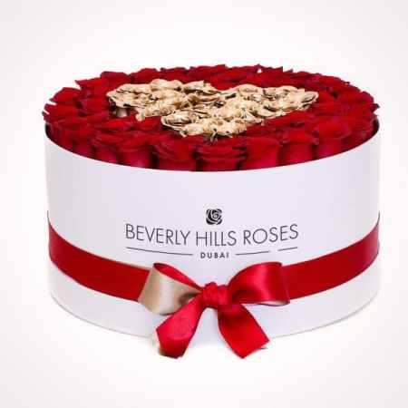 Large white rose box in love is gold